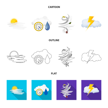 Isolated object of weather and climate . Collection of weather and cloud stock symbol for web. Illustration