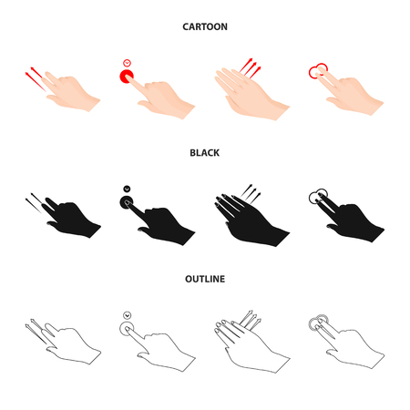 Vector illustration of touchscreen and hand sign. Collection of touchscreen and touch stock vector illustration.