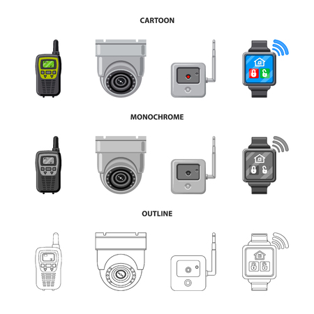 Vector illustration of office and house . Set of office and system vector icon for stock.