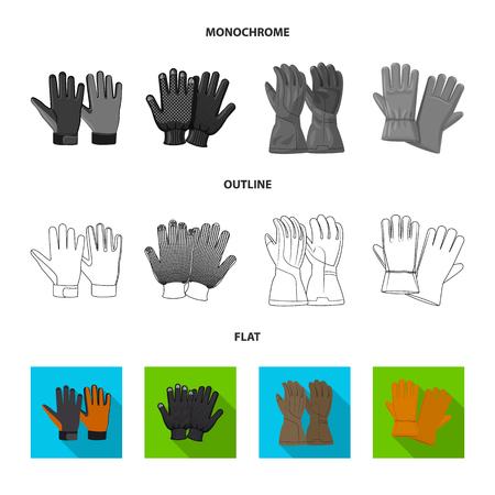 Objeto aislado de guante y símbolo de invierno. Colección de símbolo de stock de guantes y equipos para web. Ilustración de vector