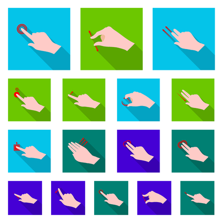 Isolated object of touchscreen and hand sign. Collection of touchscreen and touch stock symbol for web. Illustration
