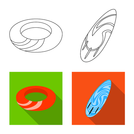 Isolated object of equipment and swimming . Collection of equipment and activity vector icon for stock. Illustration