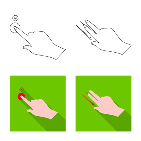 Vector illustration of touchscreen and hand symbol. Set of touchscreen and touch stock symbol for web. Illustration