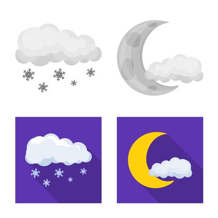 Vector illustration of weather and climate symbol. Collection of weather and cloud stock vector illustration. Ilustração