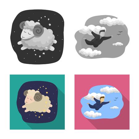 Vector design of dreams and night symbol. Set of dreams and bedroom stock symbol for web. Vecteurs