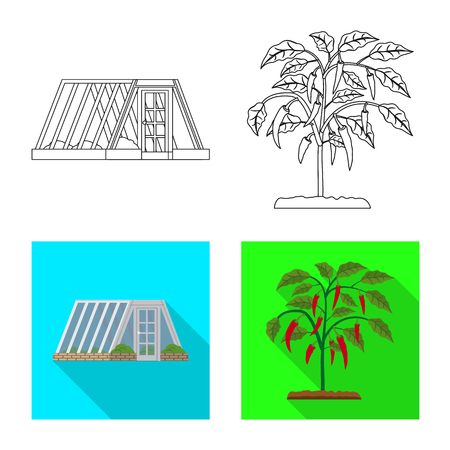 Vector design of greenhouse and plant sign. Set of greenhouse and garden vector icon for stock. 일러스트
