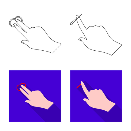 Vector design of touchscreen and hand sign. Set of touchscreen and touch stock vector illustration.