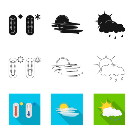 Isolated object of weather and climate sign. Collection of weather and cloud vector icon for stock. 일러스트