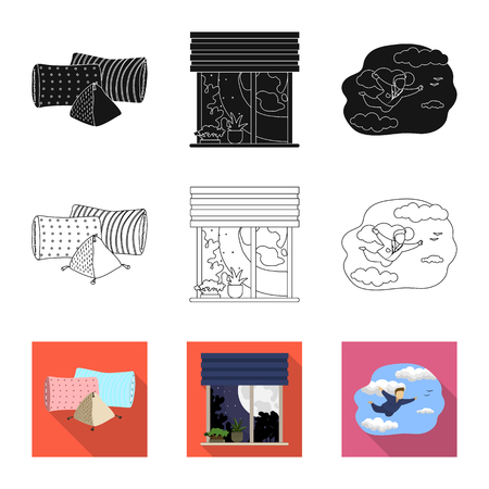 Isolated object of dreams and night . Set of dreams and bedroom stock vector illustration.