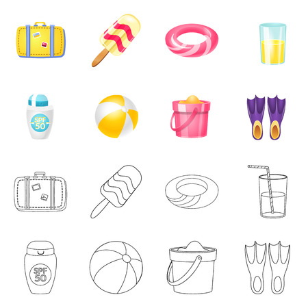 Isolated object of equipment and swimming icon. Collection of equipment and activity vector icon for stock.