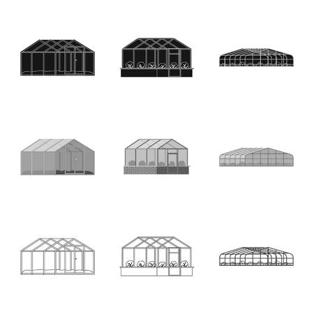 Vector illustration of greenhouse and plant icon. Collection of greenhouse and garden stock vector illustration. Stockfoto - 108844324