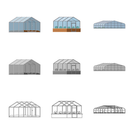 Vector illustration of greenhouse and plant symbol. Collection of greenhouse and garden stock symbol for web. Stock Illustratie