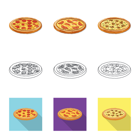 Isolated object of pizza and food  . Set of pizza and italy stock vector illustration. 일러스트
