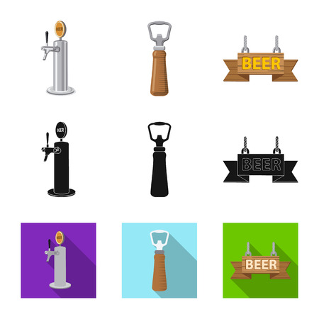 Vector illustration of pub and bar symbol. Collection of pub and interior vector icon for stock. Vetores