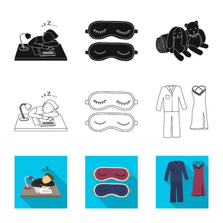 Vektordesign von Träumen und Nachtzeichen. Sammlung von Träumen und Schlafzimmervektorikone für Lager. Vektorgrafik