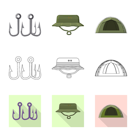 Vector illustration of fish and fishing icon. Collection of fish and equipment stock symbol for web.