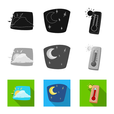 Isolated object of weather and climate symbol. Collection of weather and cloud stock symbol for web.