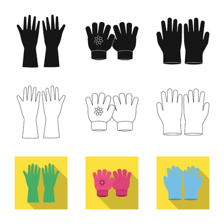 Isolated object of glove and winter sign. Collection of glove and equipment vector icon for stock. Иллюстрация
