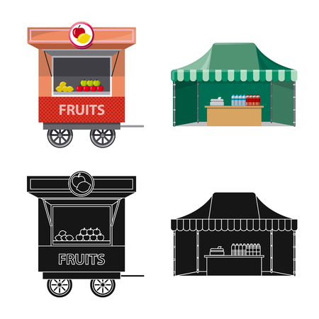 Vector illustration of market and exterior  . Collection of market and food vector icon for stock.