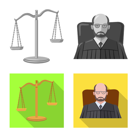 Isolated object of law and lawyer sign. Collection of law and justice vector icon for stock. Vektorové ilustrace