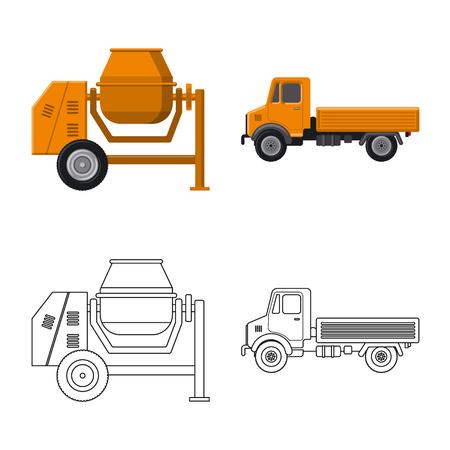 Illustrazione vettoriale di build e segno di costruzione. Raccolta di build e macchinari icona vettore per il magazzino.