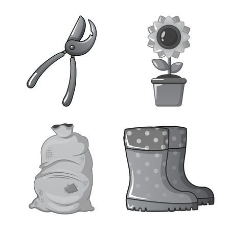 Isolated object of farm and agriculture . Set of farm and plant vector icon for stock.