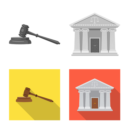 Isolated object of law and lawyer  . Set of law and justice stock vector illustration.