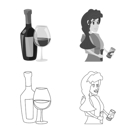 Vector illustration of food and drink icon. Set of food and store stock vector illustration.