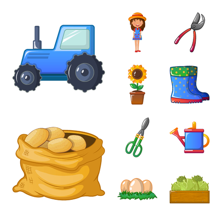 Isolated object of farm and agriculture icon. Collection of farm and plant stock symbol for web.
