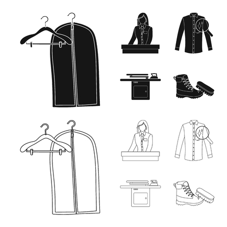 Vector design of laundry and clean icon. Collection of laundry and clothes stock vector illustration. Vettoriali