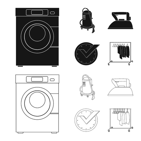 Isolated object of laundry and clean sign. Set of laundry and clothes stock vector illustration. Çizim