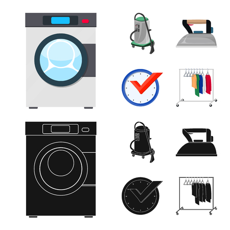 Vector design of laundry and clean sign. Set of laundry and clothes stock vector illustration. Çizim