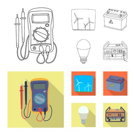 Diseño vectorial de electricidad y letrero eléctrico. Colección de icono de vector de electricidad y energía para stock.