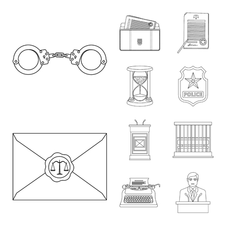 Vector illustration of law and lawyer symbol. Collection of law and justice stock vector illustration. Illustration
