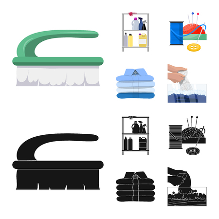 Vector illustration of laundry and clean symbol. Collection of laundry and clothes stock symbol for web.