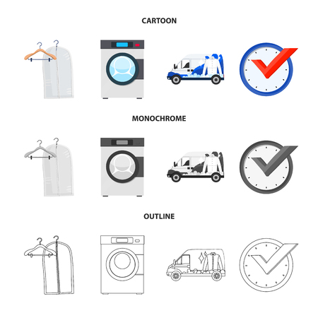 Vector design of laundry and clean symbol. Set of laundry and clothes vector icon for stock. Illustration