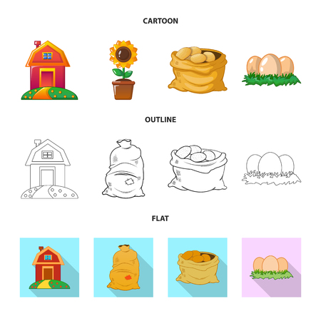 Vector design of farm and agriculture symbol. Collection of farm and plant vector icon for stock.