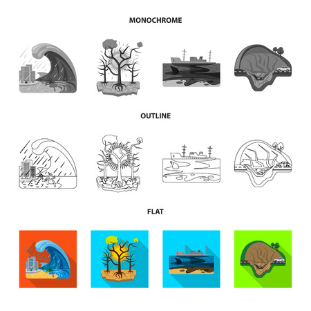 Vector design of natural and disaster . Collection of natural and risk stock symbol for web.