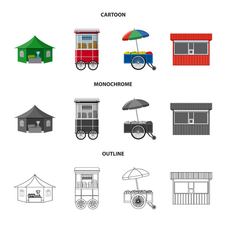 Vector illustration of market and exterior . Set of market and food vector icon for stock.