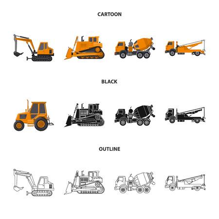 Diseño vectorial del símbolo de construcción y construcción. Colección de símbolo de stock de construcción y maquinaria para web.