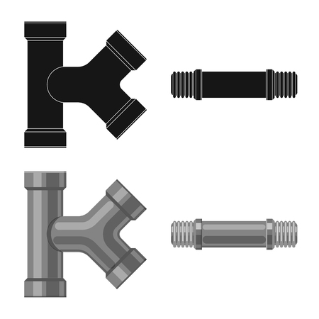 Vector design of pipe and tube icon. Set of pipe and pipeline stock vector illustration. Çizim