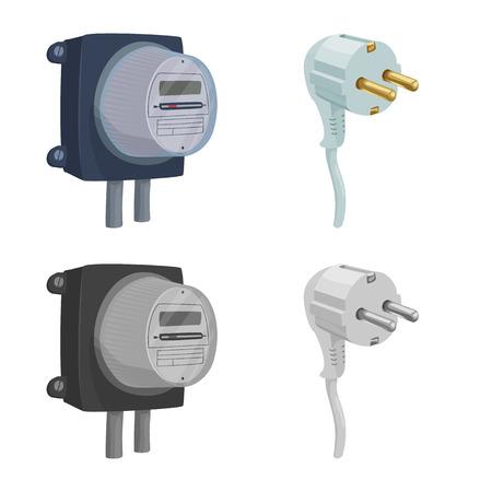 Ilustración de vector de electricidad y electricidad. Colección de icono de vector de electricidad y energía para stock.