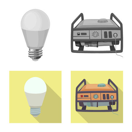 Isolated object of electricity and electric symbol. Collection of electricity and energy stock symbol for web. Illustration