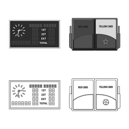 Ilustración de vector de fútbol y el icono de engranaje. Conjunto de icono de vector de fútbol y torneo para stock.