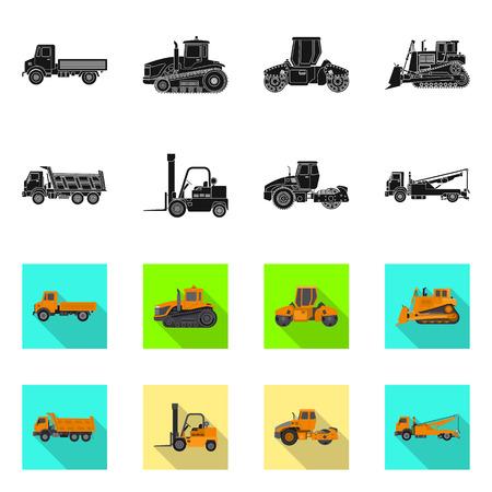 Vektorentwurf des Aufbaus und der Konstruktion. Satz von Bau- und Maschinenvektorikone für Lager.