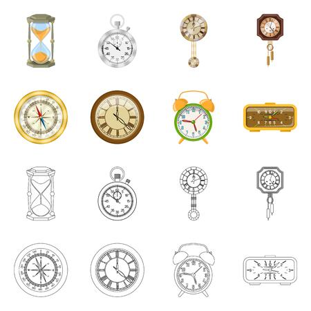 Vector ontwerp van klok en tijd teken. Set van klok en cirkel vector pictogram voor voorraad.
