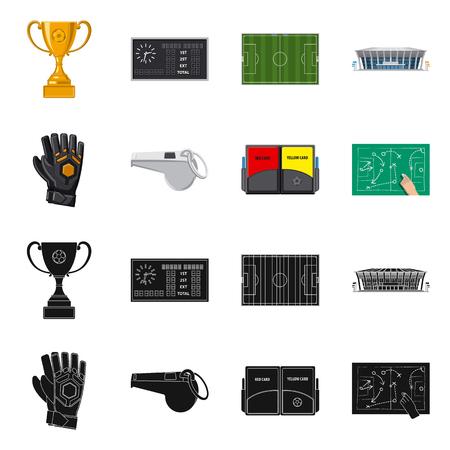 Vector design of soccer and gear symbol. Set of soccer and tournament stock vector illustration. Ilustración de vector