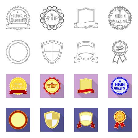 Vector illustration of emblem and badge . Set of emblem and sticker stock symbol for web.