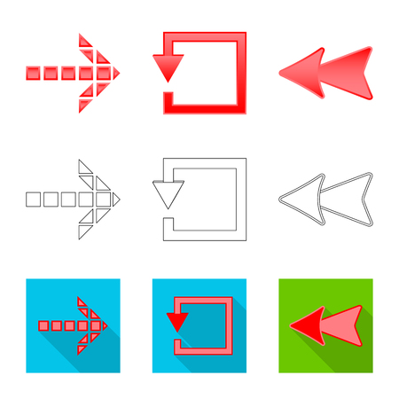 Isolated object of element and arrow icon. Collection of element and direction stock symbol for web. Illustration