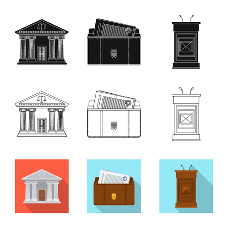 Isolated object of law and lawyer sign. Collection of law and justice stock symbol for web. Illustration